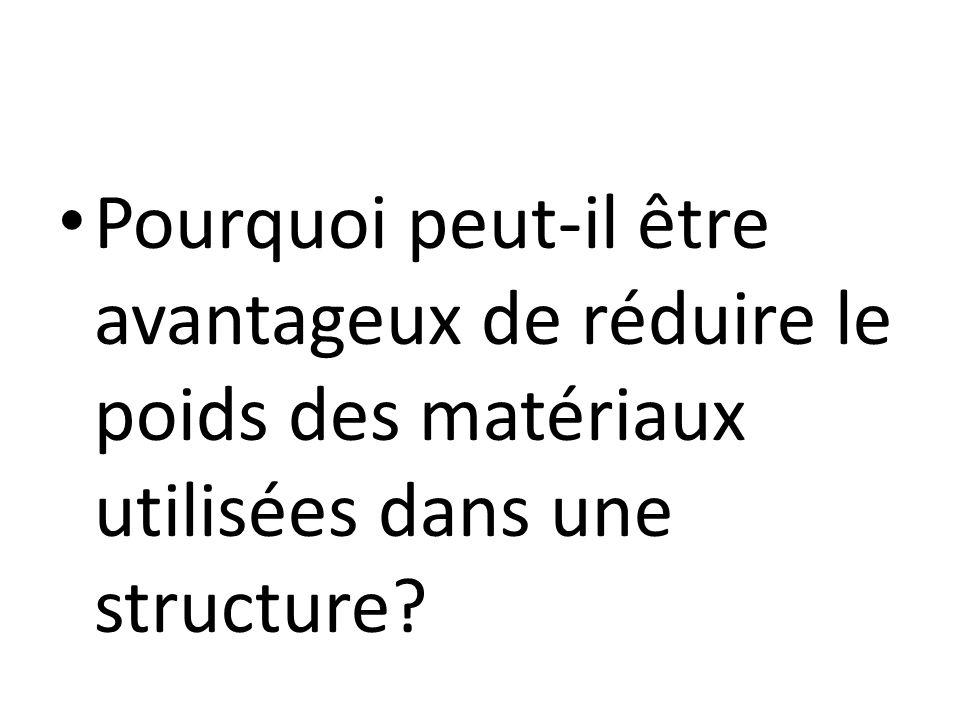 Pourquoi peut-il être avantageux de réduire le poids des matériaux utilisées dans une structure