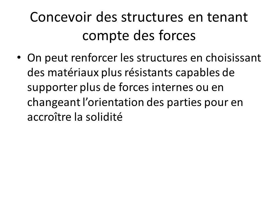 Concevoir des structures en tenant compte des forces On peut renforcer les structures en choisissant des matériaux plus résistants capables de supporter plus de forces internes ou en changeant lorientation des parties pour en accroître la solidité