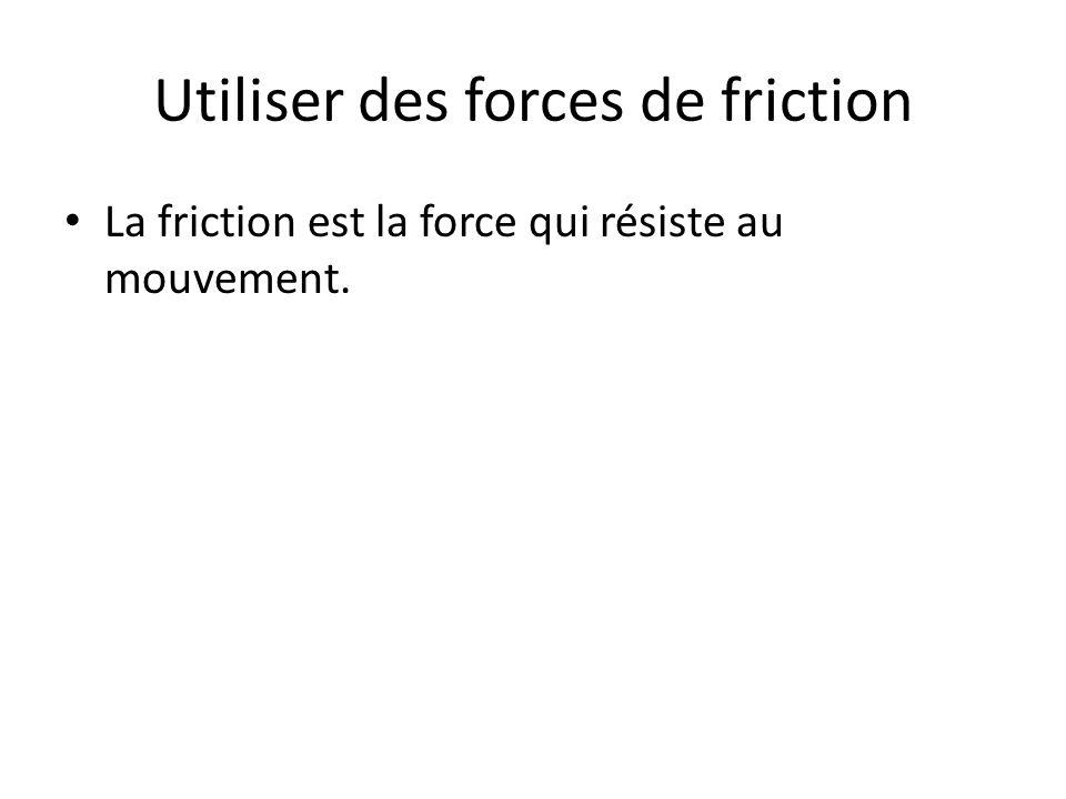 Utiliser des forces de friction La friction est la force qui résiste au mouvement.