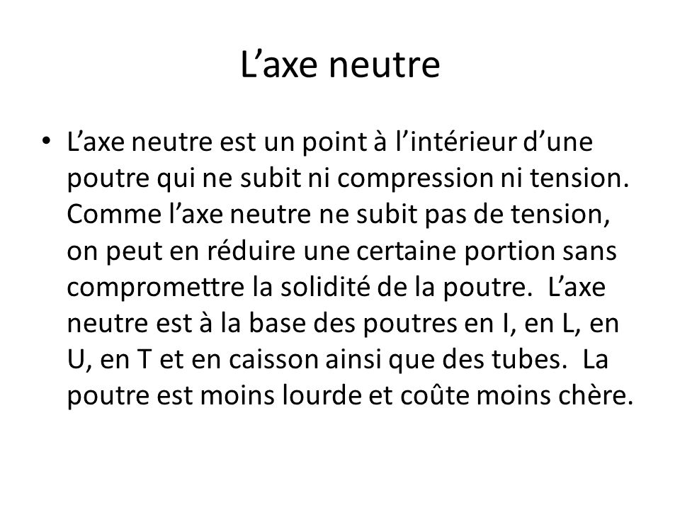 Laxe neutre Laxe neutre est un point à lintérieur dune poutre qui ne subit ni compression ni tension.