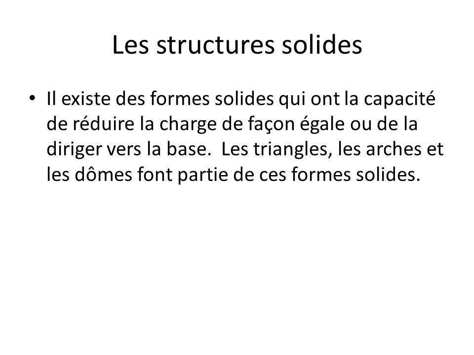 Les structures solides Il existe des formes solides qui ont la capacité de réduire la charge de façon égale ou de la diriger vers la base.