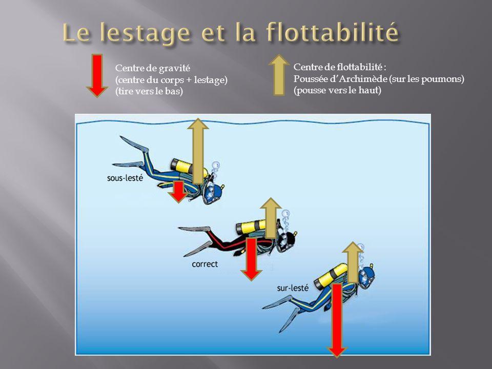 Centre de flottabilité : Poussée dArchimède (sur les poumons) (pousse vers le haut) Centre de gravité (centre du corps + lestage) (tire vers le bas)