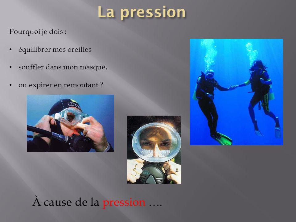 Pourquoi je dois : équilibrer mes oreilles souffler dans mon masque, ou expirer en remontant ? À cause de la pression ….