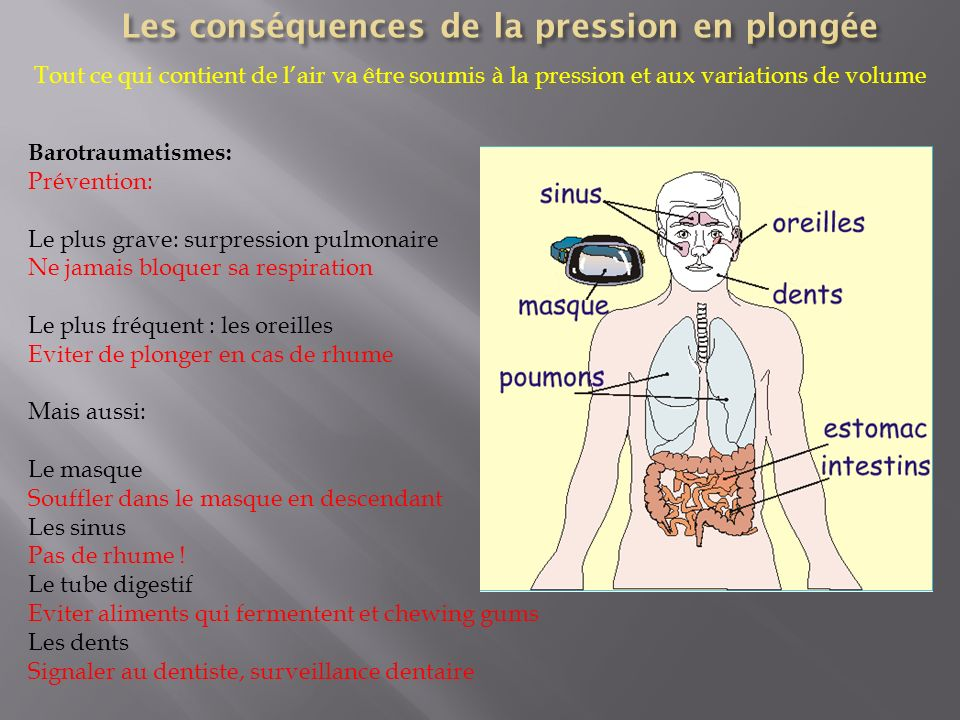Barotraumatismes: Prévention: Le plus grave: surpression pulmonaire Ne jamais bloquer sa respiration Le plus fréquent : les oreilles Eviter de plonger en cas de rhume Mais aussi: Le masque Souffler dans le masque en descendant Les sinus Pas de rhume .