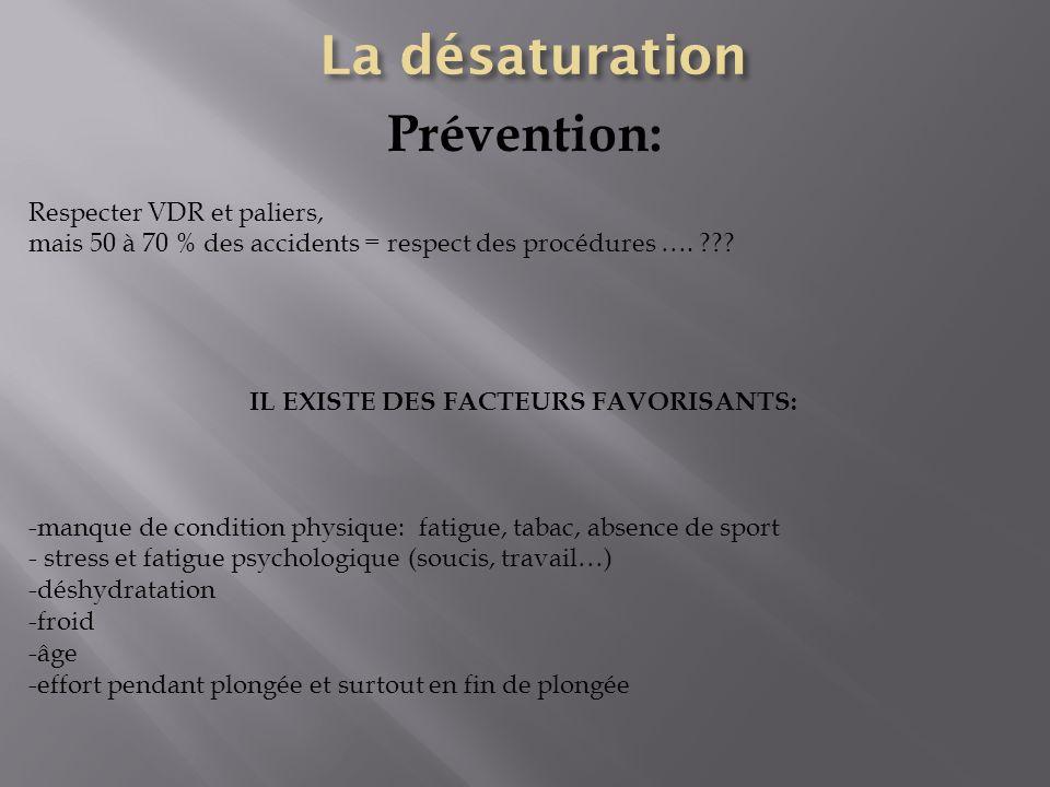 Prévention: Respecter VDR et paliers, mais 50 à 70 % des accidents = respect des procédures …. ??? IL EXISTE DES FACTEURS FAVORISANTS: -manque de cond