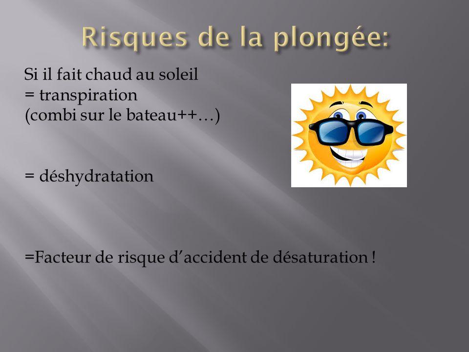 Si il fait chaud au soleil = transpiration (combi sur le bateau++…) = déshydratation =Facteur de risque daccident de désaturation !