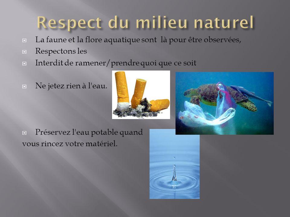 La faune et la flore aquatique sont là pour être observées, Respectons les Interdit de ramener/prendre quoi que ce soit Ne jetez rien à l'eau. Préserv