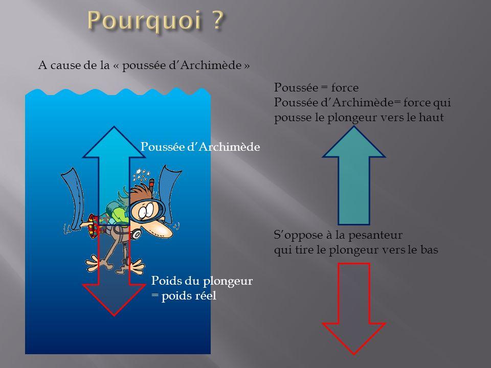 Poids du plongeur = poids réel Poussée dArchimède Poussée = force Poussée dArchimède= force qui pousse le plongeur vers le haut Soppose à la pesanteur qui tire le plongeur vers le bas A cause de la « poussée dArchimède »