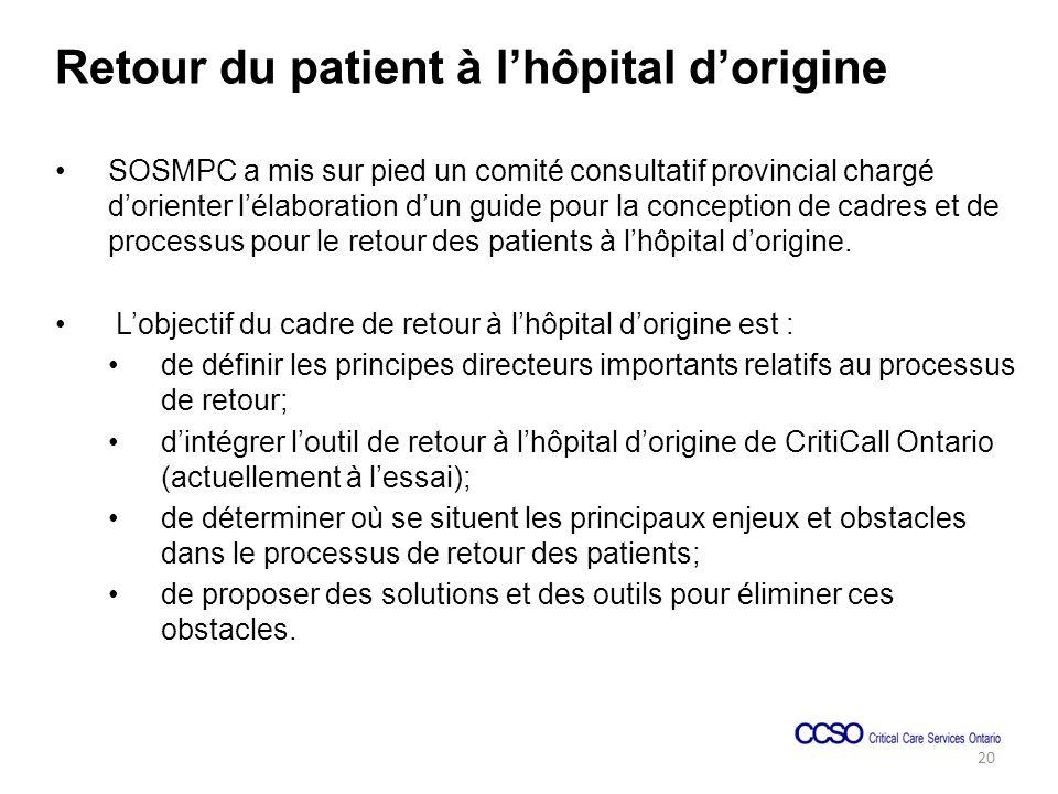 Retour du patient à lhôpital dorigine SOSMPC a mis sur pied un comité consultatif provincial chargé dorienter lélaboration dun guide pour la conception de cadres et de processus pour le retour des patients à lhôpital dorigine.