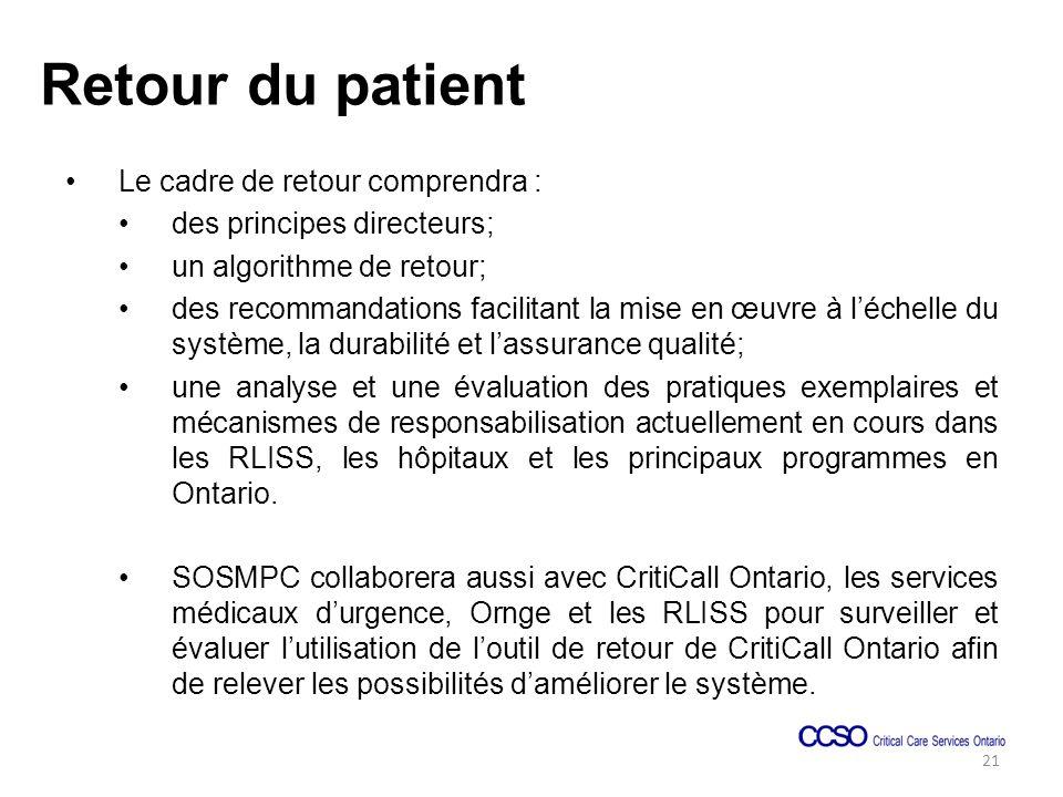 Retour du patient Le cadre de retour comprendra : des principes directeurs; un algorithme de retour; des recommandations facilitant la mise en œuvre à léchelle du système, la durabilité et lassurance qualité; une analyse et une évaluation des pratiques exemplaires et mécanismes de responsabilisation actuellement en cours dans les RLISS, les hôpitaux et les principaux programmes en Ontario.