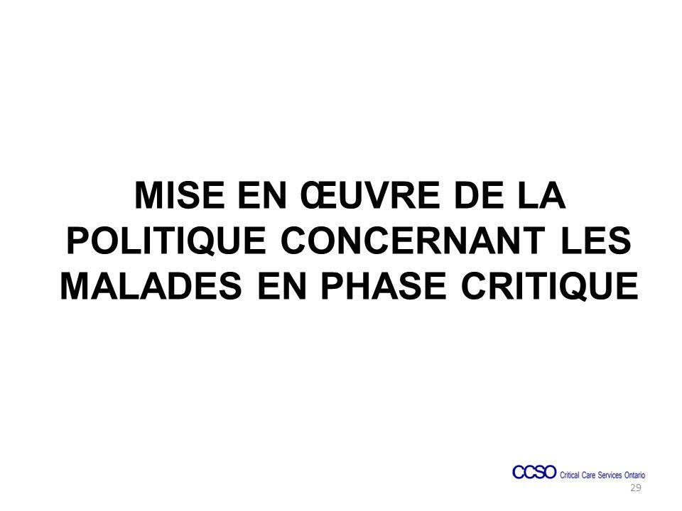MISE EN ŒUVRE DE LA POLITIQUE CONCERNANT LES MALADES EN PHASE CRITIQUE 29