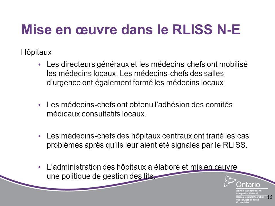 Mise en œuvre dans le RLISS N-E Hôpitaux Les directeurs généraux et les médecins-chefs ont mobilisé les médecins locaux.