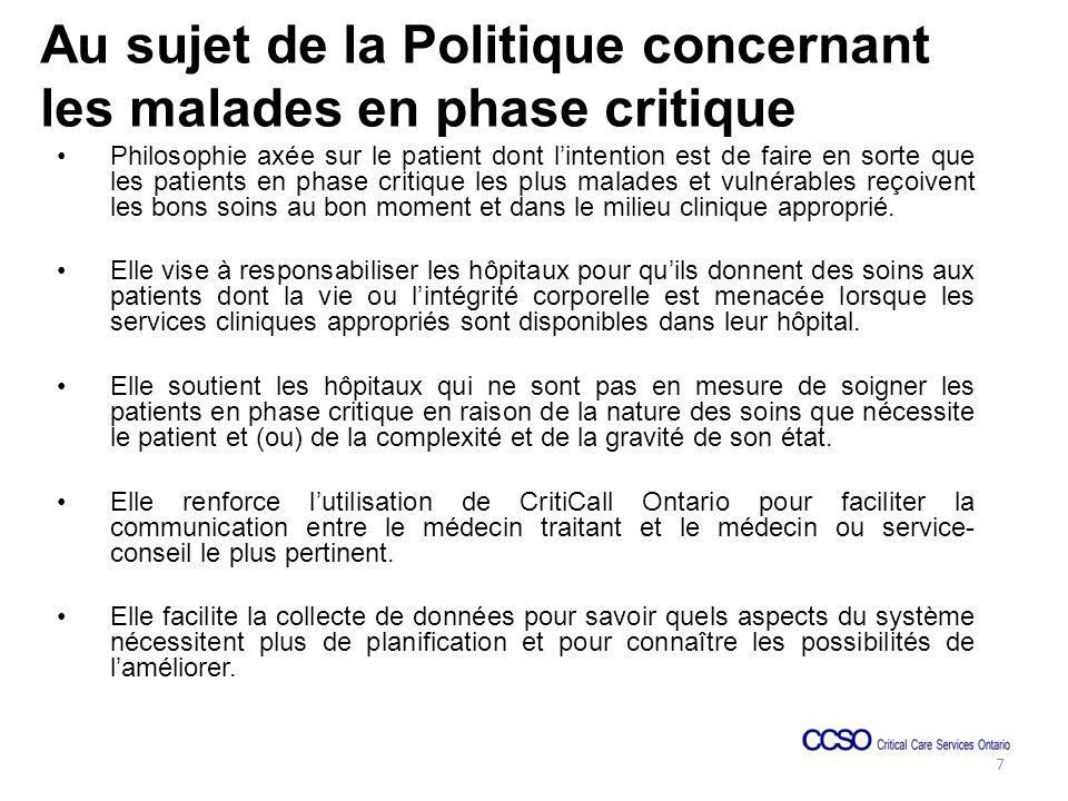 Portée La Politique concernant les malades en phase critique sapplique à tous les hôpitaux de lOntario.