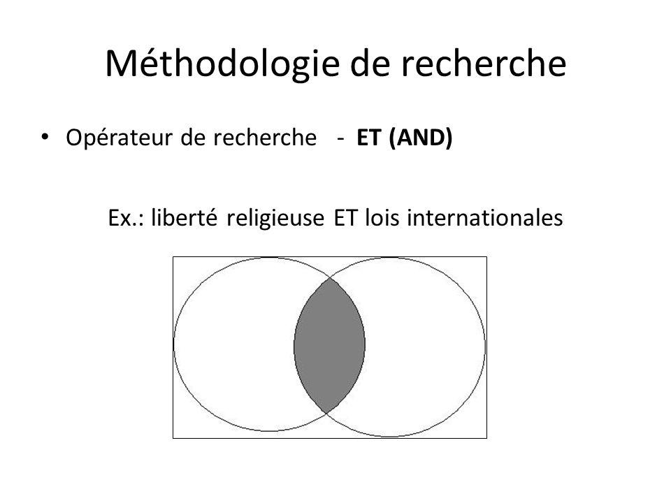 Méthodologie de recherche Opérateur de recherche - ET (AND) Ex.: liberté religieuse ET lois internationales