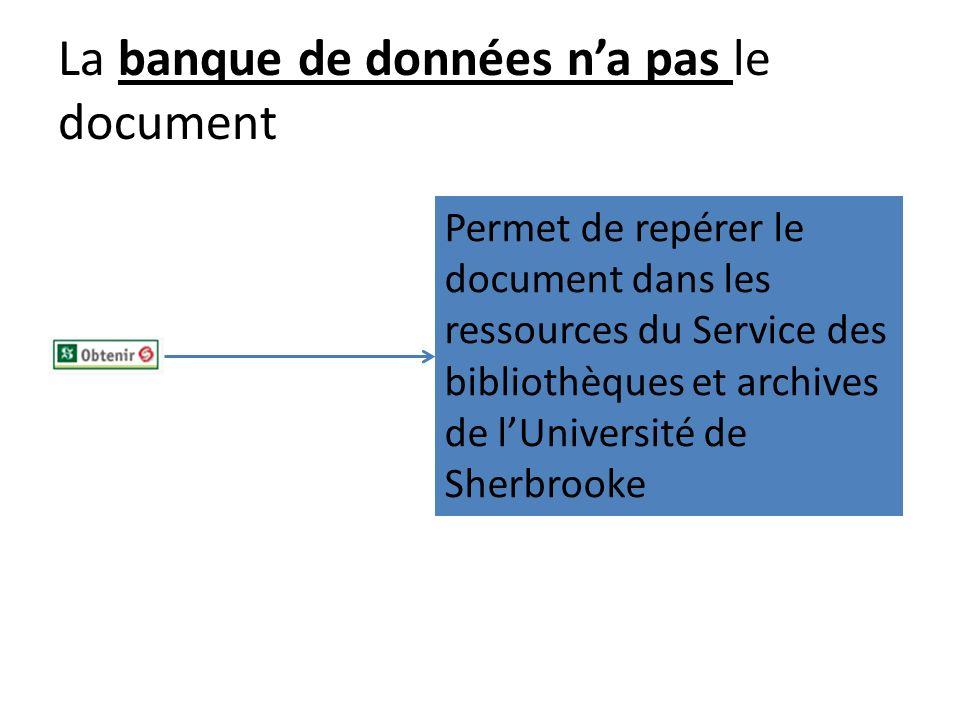 La banque de données na pas le document Permet de repérer le document dans les ressources du Service des bibliothèques et archives de lUniversité de S