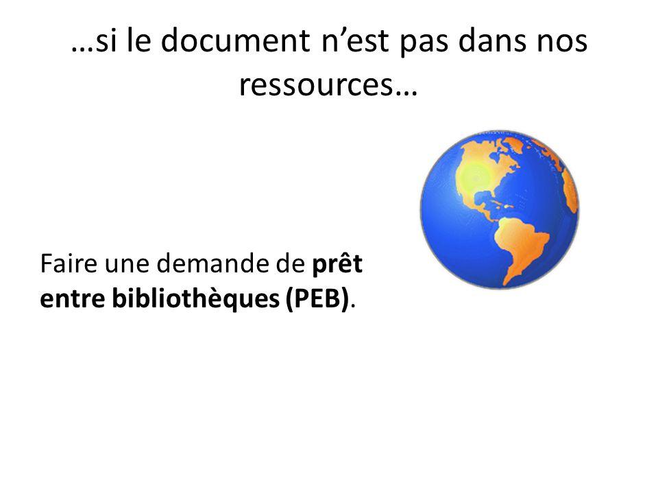 …si le document nest pas dans nos ressources… Faire une demande de prêt entre bibliothèques (PEB).