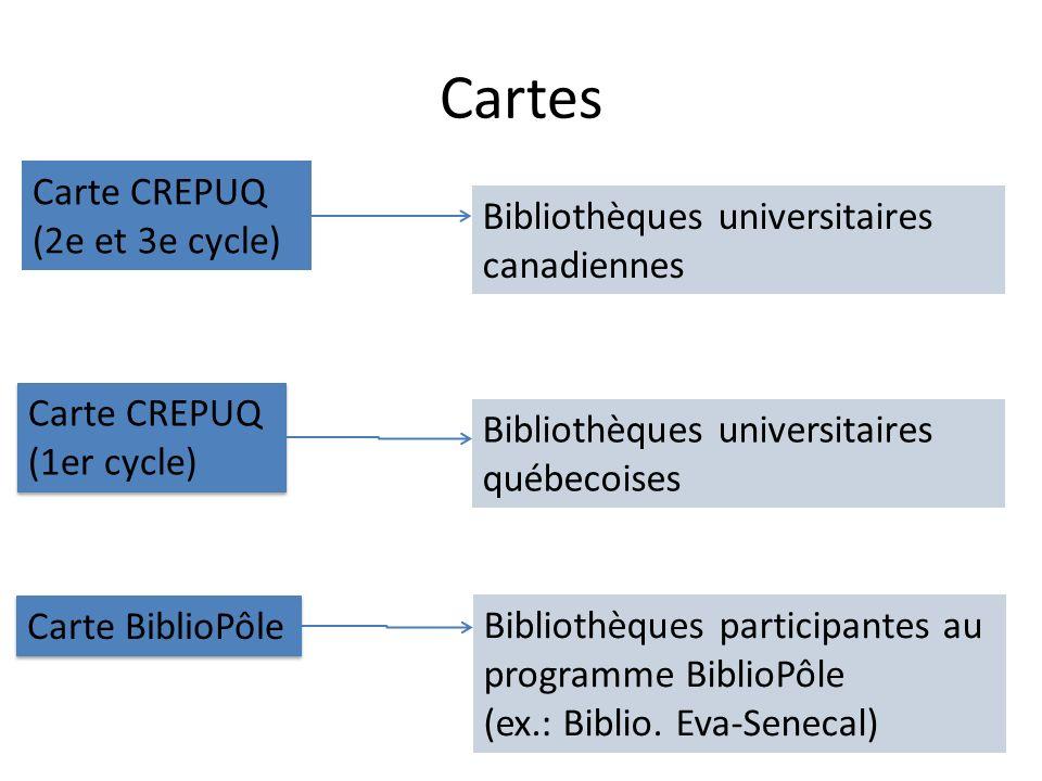 Cartes Carte CREPUQ (2e et 3e cycle) Carte CREPUQ (1er cycle) Carte CREPUQ (1er cycle) Carte BiblioPôle Bibliothèques universitaires canadiennes Bibliothèques universitaires québecoises Bibliothèques participantes au programme BiblioPôle (ex.: Biblio.