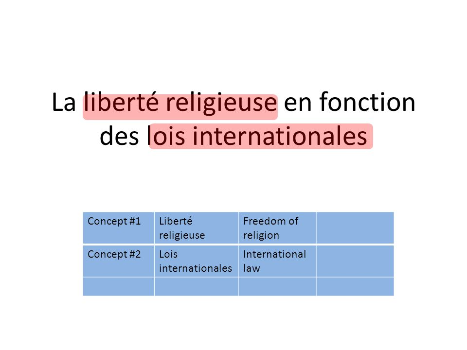 La liberté religieuse en fonction des lois internationales Concept #1Liberté religieuse Freedom of religion Concept #2Lois internationales International law