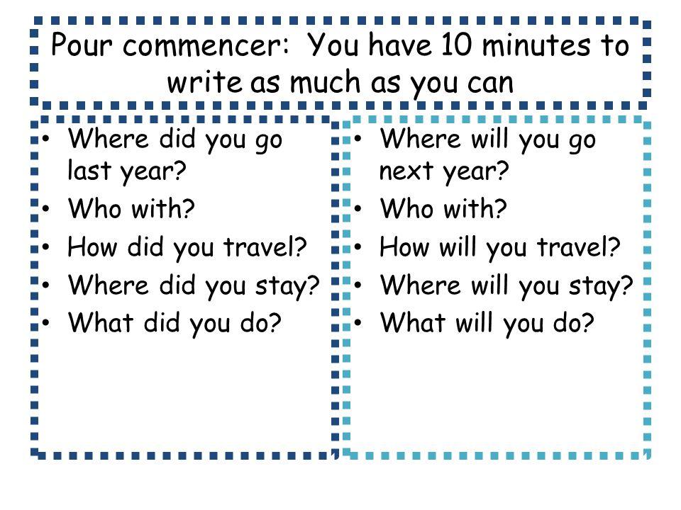 Parle-moi de tes dernières vacances.Complete the task on the worksheet.