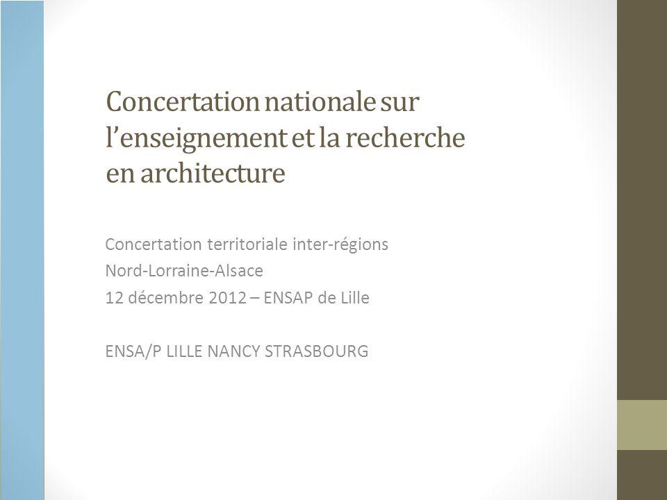 Concertation nationale sur lenseignement et la recherche en architecture Concertation territoriale inter-régions Nord-Lorraine-Alsace 12 décembre 2012 – ENSAP de Lille ENSA/P LILLE NANCY STRASBOURG