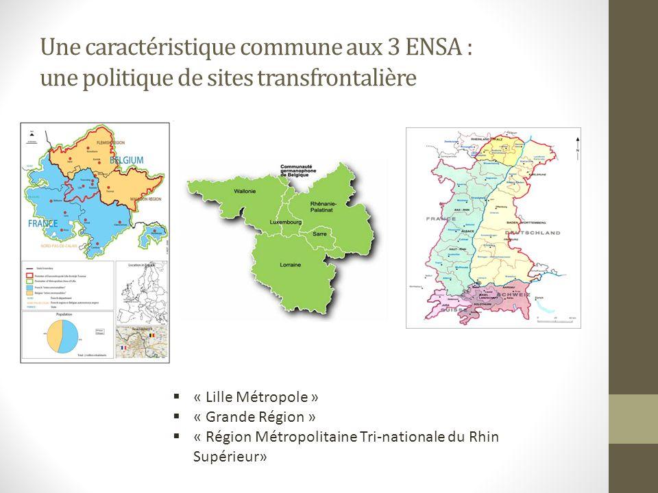 Une caractéristique commune aux 3 ENSA : une politique de sites transfrontalière « Lille Métropole » « Grande Région » « Région Métropolitaine Tri-nationale du Rhin Supérieur»