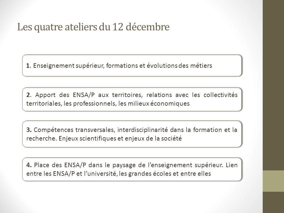 Les quatre ateliers du 12 décembre 1.