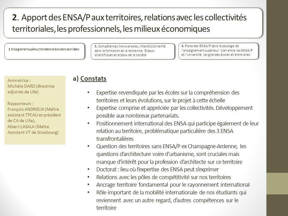 2. Apport des ENSA/P aux territoires, relations avec les collectivités territoriales, les professionnels, les milieux économiques 3. Compétences trans