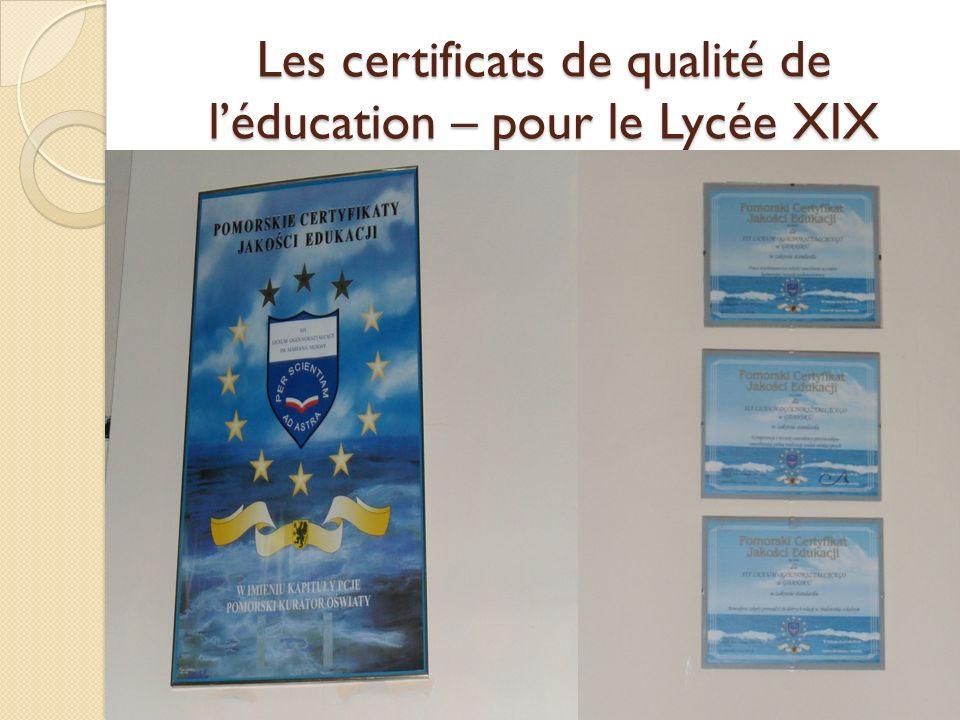 Les certificats de qualité de léducation – pour le Lycée XIX
