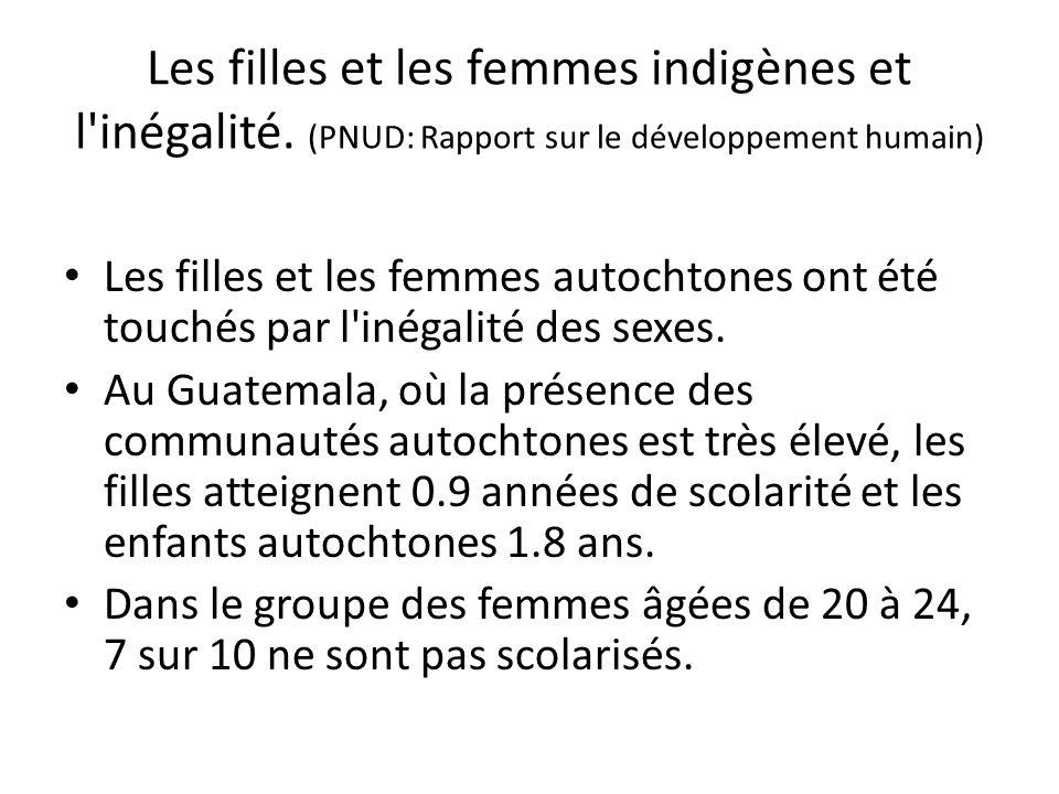 Les filles et les femmes indigènes et l'inégalité. (PNUD: Rapport sur le développement humain) Les filles et les femmes autochtones ont été touchés pa
