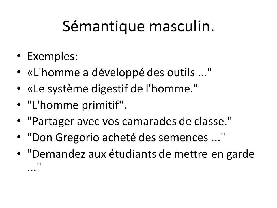 Sémantique masculin. Exemples: «L'homme a développé des outils...