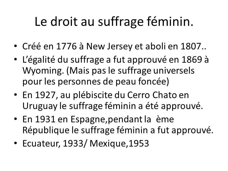 Le droit au suffrage féminin. Créé en 1776 à New Jersey et aboli en 1807.. Légalité du suffrage a fut approuvé en 1869 à Wyoming. (Mais pas le suffrag