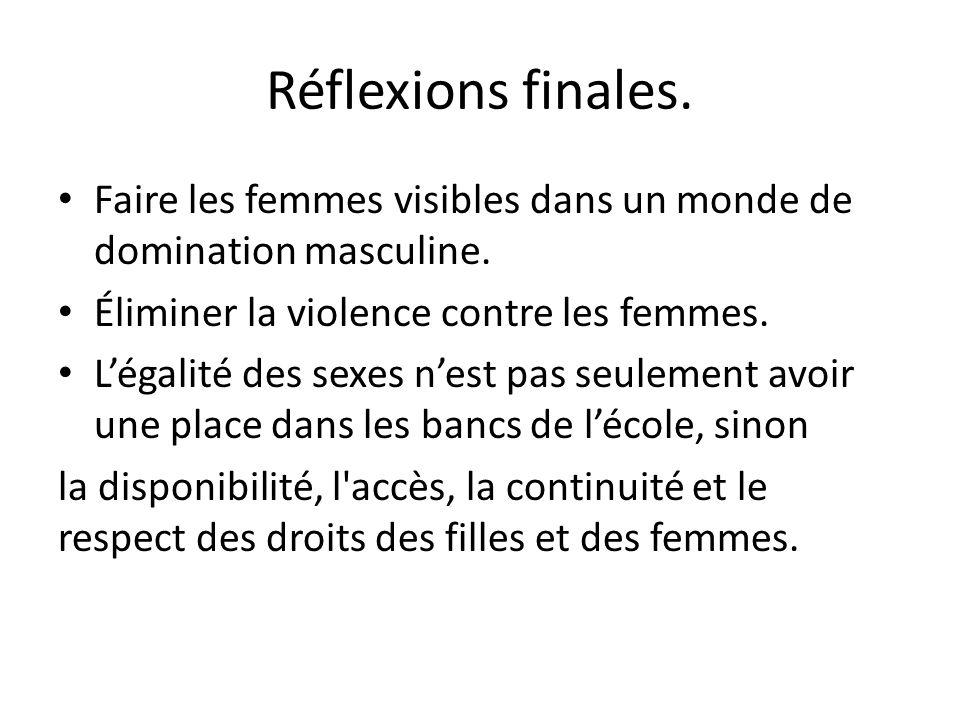 Réflexions finales. Faire les femmes visibles dans un monde de domination masculine. Éliminer la violence contre les femmes. Légalité des sexes nest p