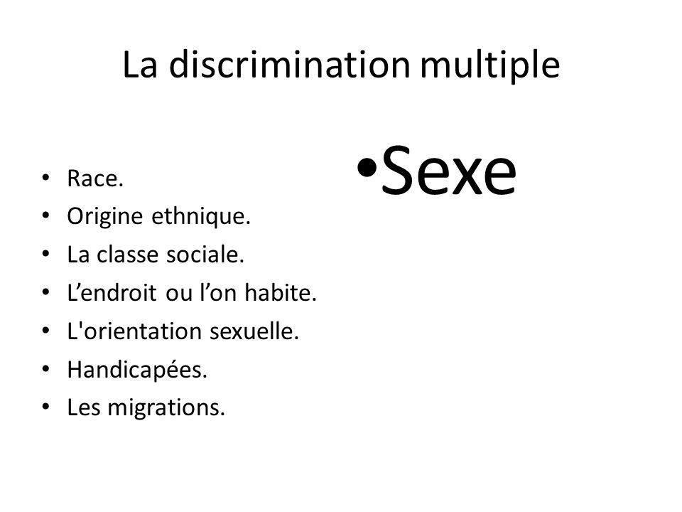 La discrimination multiple Race. Origine ethnique. La classe sociale. Lendroit ou lon habite. L'orientation sexuelle. Handicapées. Les migrations. Sex