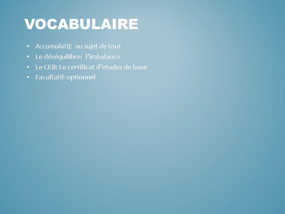 Accumulatif: au sujet de tout Le déséquilibre: limbalance Le CEB: Le certificat detudes de base Facultatif: optionnel VOCABULAIRE