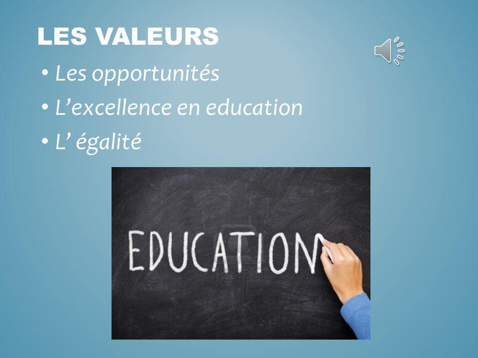 Les opportunités Lexcellence en education L égalité LES VALEURS