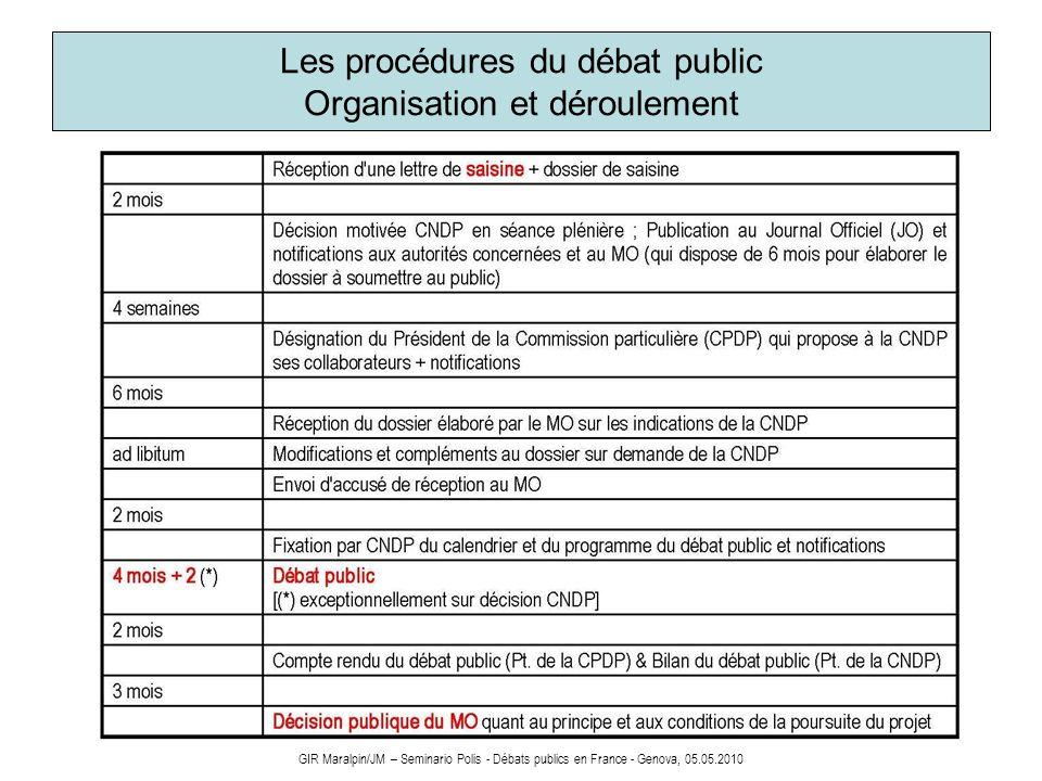 Les procédures du débat public Organisation et déroulement GIR Maralpin/JM – Seminario Polis - Débats publics en France - Genova, 05.05.2010