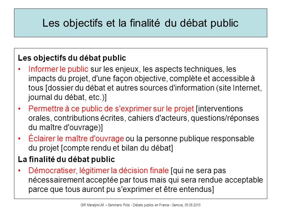 Les objectifs et la finalité du débat public Les objectifs du débat public Informer le public sur les enjeux, les aspects techniques, les impacts du p
