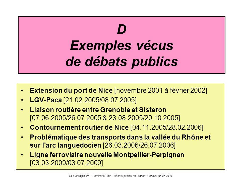 GIR Maralpin/JM – Seminario Polis - Débats publics en France - Genova, 05.05.2010 D Exemples vécus de débats publics Extension du port de Nice [novemb