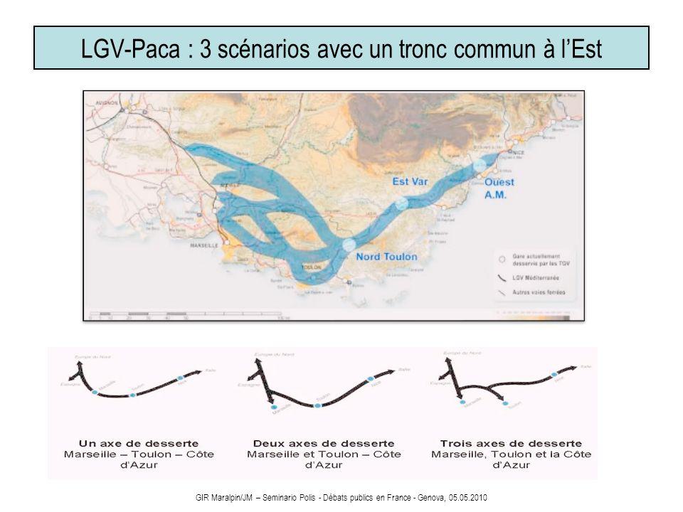 LGV-Paca : 3 scénarios avec un tronc commun à lEst