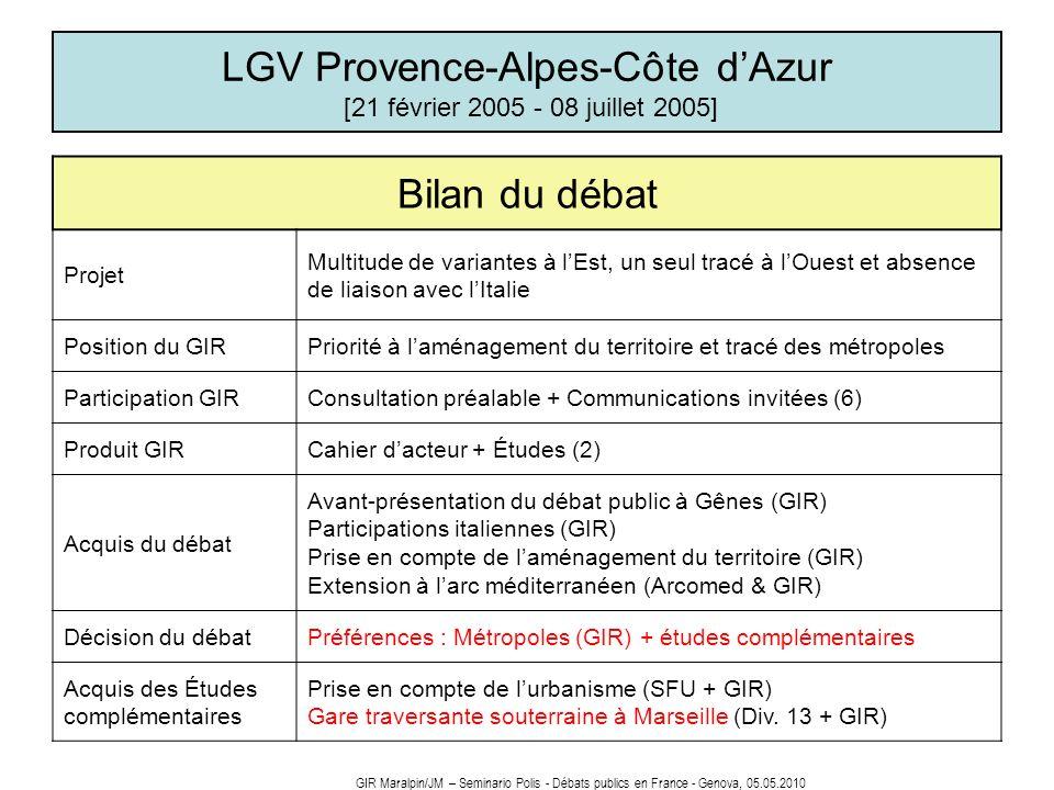 LGV Provence-Alpes-Côte dAzur [21 février 2005 - 08 juillet 2005] Bilan du débat Projet Multitude de variantes à lEst, un seul tracé à lOuest et absen