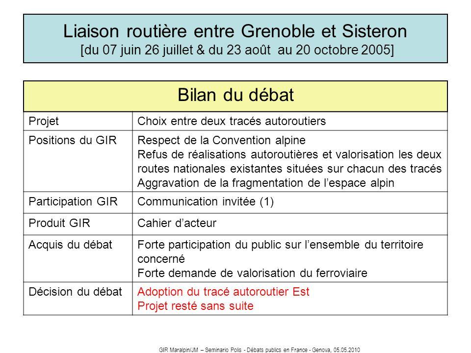 Liaison routière entre Grenoble et Sisteron [du 07 juin 26 juillet & du 23 août au 20 octobre 2005] Bilan du débat ProjetChoix entre deux tracés autor