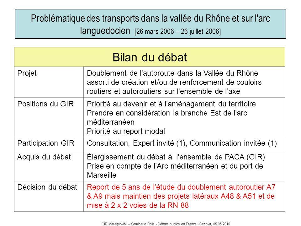 Problématique des transports dans la vallée du Rhône et sur l'arc languedocien [26 mars 2006 – 26 juillet 2006] Bilan du débat ProjetDoublement de lau