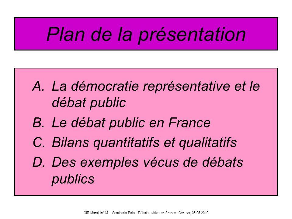 GIR Maralpin/JM – Seminario Polis - Débats publics en France - Genova, 05.05.2010 Plan de la présentation A.La démocratie représentative et le débat p