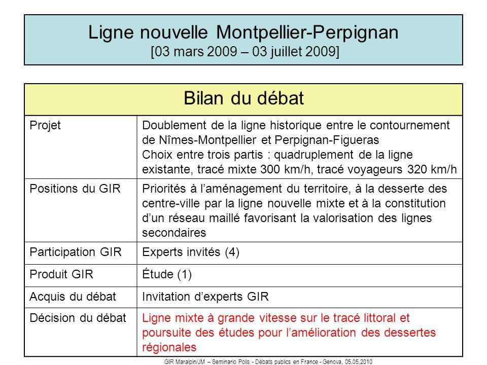 Ligne nouvelle Montpellier-Perpignan [03 mars 2009 – 03 juillet 2009] Bilan du débat ProjetDoublement de la ligne historique entre le contournement de
