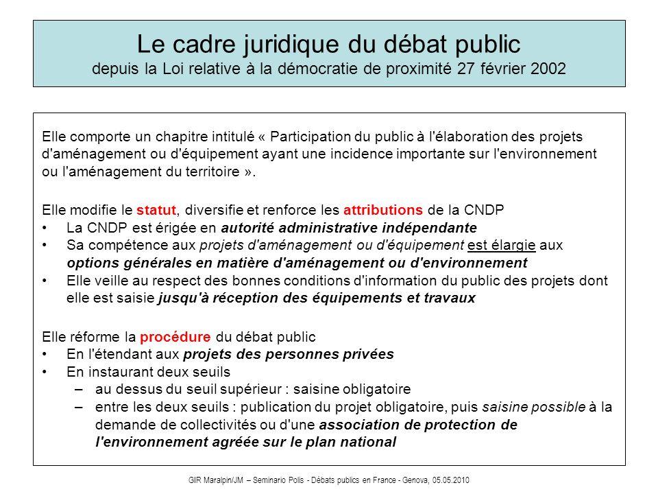 GIR Maralpin/JM – Seminario Polis - Débats publics en France - Genova, 05.05.2010 Le cadre juridique du débat public depuis la Loi relative à la démoc