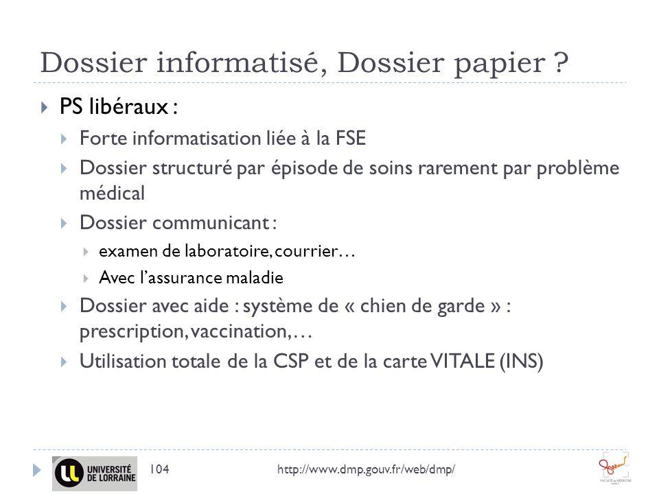 Dossier informatisé, Dossier papier ? http://www.dmp.gouv.fr/web/dmp/104 PS libéraux : Forte informatisation liée à la FSE Dossier structuré par épiso