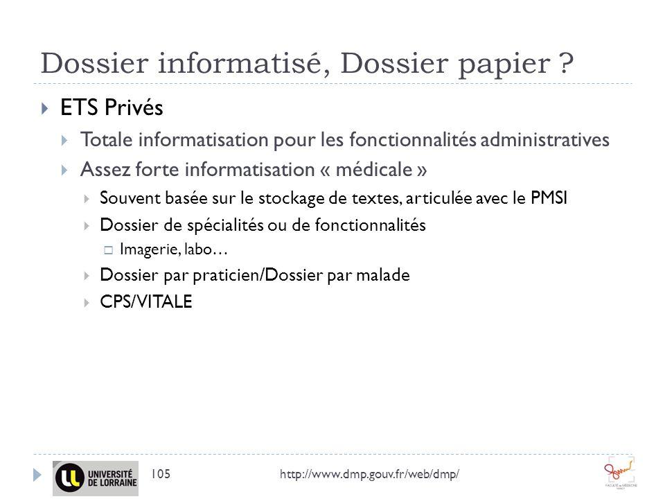 Dossier informatisé, Dossier papier ? http://www.dmp.gouv.fr/web/dmp/105 ETS Privés Totale informatisation pour les fonctionnalités administratives As