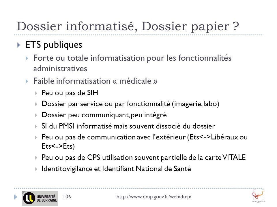 Dossier informatisé, Dossier papier ? http://www.dmp.gouv.fr/web/dmp/106 ETS publiques Forte ou totale informatisation pour les fonctionnalités admini