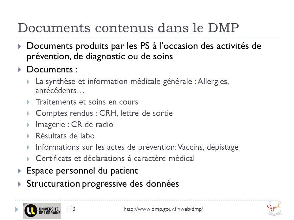 Documents contenus dans le DMP Documents produits par les PS à loccasion des activités de prévention, de diagnostic ou de soins Documents : La synthès
