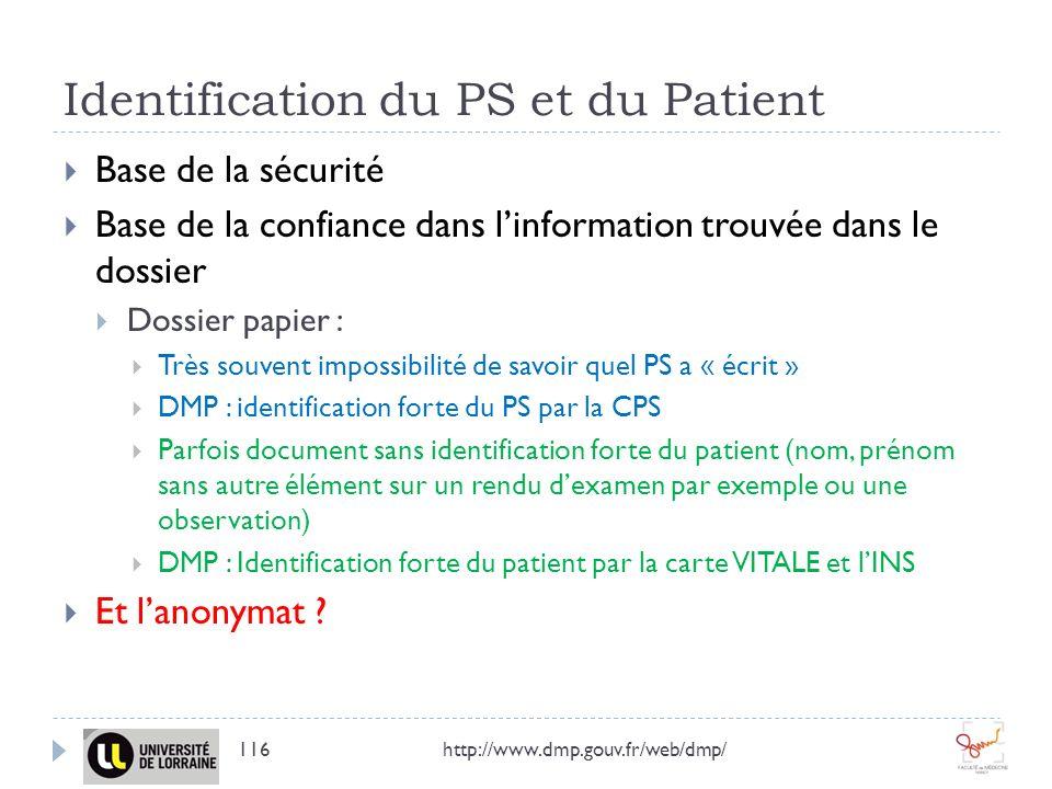 Identification du PS et du Patient http://www.dmp.gouv.fr/web/dmp/116 Base de la sécurité Base de la confiance dans linformation trouvée dans le dossi